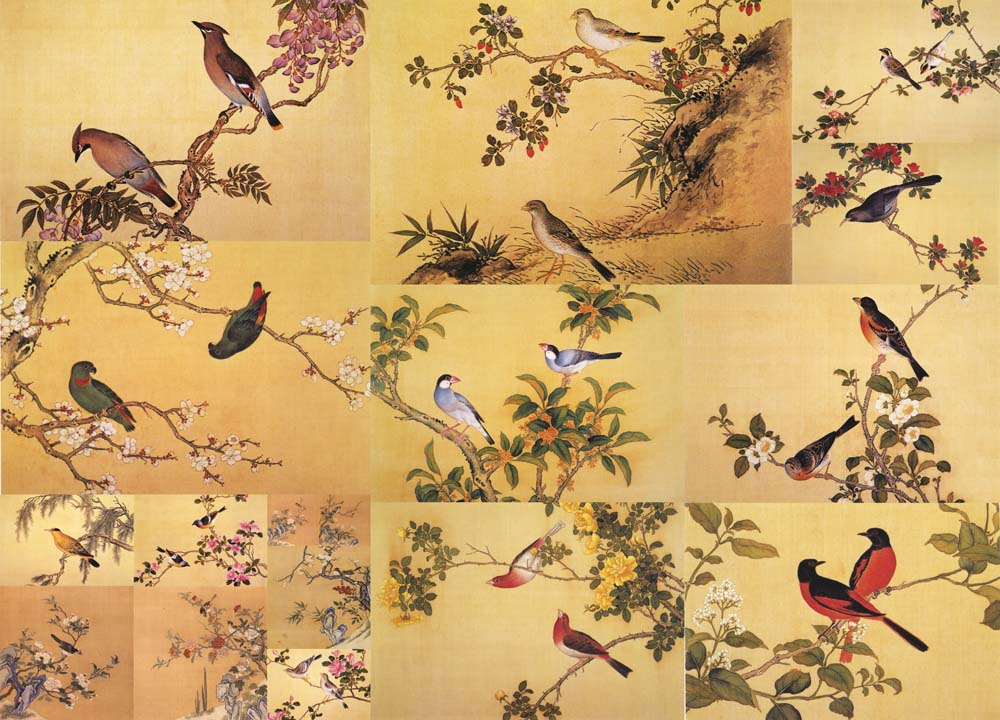 painting style imbues birds and flowers with emotions